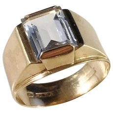 Ceson, Gothenburg 1950s Mid Century 18k Gold Synthetic Spinel Ring.