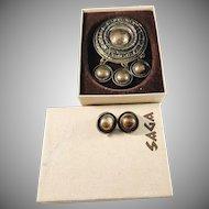 Unn Tangerud, for David Andersen Norway 1960s Huge Bronze Brooch Pendant and Clip-on Earrings. Viking Copy Saga Series.