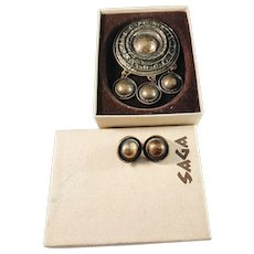 Unn Tangerud, for David Andersen Norway 1960s Huge Bronze Brooch Pendant and Clip-on Earrings. Viking Copy Saga Series.