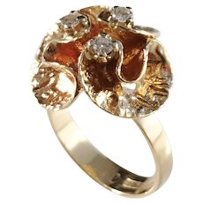Theresia Hvorslev Sweden 1982, 18k Gold Diamond Water Lily Ring. Signed