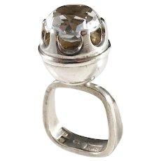 Bengt Hallberg, Sweden year 1967, Sterling Silver Rock Crystal Modernist Ring.