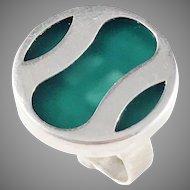 Germany/Austria 1960s 835 Silver Acrylic Modernist ring.
