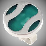 Germany/Austria 1960s 835 Silver Acrylic Modernist ring.
