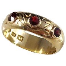 CA Kjernås, Gothenburg year 1891, Victorian 20k Gold Rose Cut Garnet Ring. Excellent Stacking Ring. US size 7.