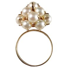 Elis Kauppi, Kupittaan Kulta, Finland 1960s, 14k Gold Kinetic Cultured Pearl Modernist Ring. Excellent.