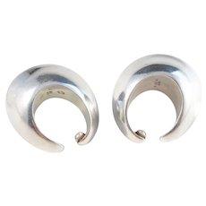 Georg Jensen, Vintage Sterling 126b Ear-Cuff Earrings. Nanna Ditzel 1970s.