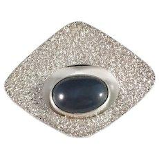 Victor Janson, Sweden 1971 Solid Silver Agate Modernist Brooch.