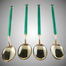 David Andersen, Norway 1888-1925 Sterling Silver Green Enamel Coffee Spoons