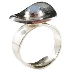 Hedberg, Sweden year 1975, Modernist Sterling Silver Chalcedony Ring.
