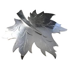Forssell, Sweden year 1949, Solid Silver Maple Leaf Brooch.