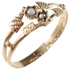 Emil Möller, Sweden year 1896, Victorian 18k Gold Seed Pearl Ring.