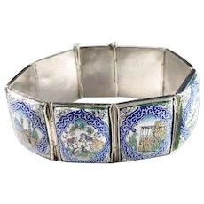Vintage Eastern Mediterranean Swedish Import Marks Sterling Silver Enamel Bracelet.