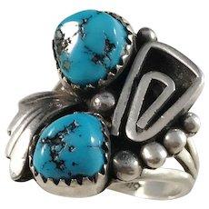 Arnold Maloney , Vintage Navajo Sterling  Turquoise Ring.