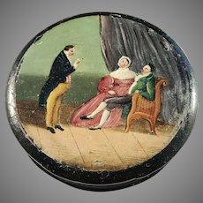Georgian c year 1810 Lacquered Papier Mache Snuff Box