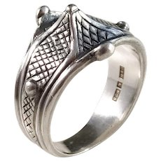 Bengt Hallberg, Sweden Vintage Sterling Silver Viking Copy Ring.