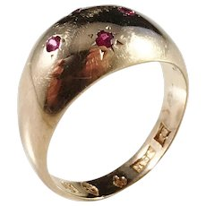 Folke Borg, Sweden year 1915 Antique 18k Gold Ruby Ring.