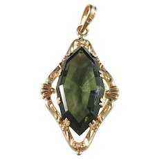G Dahlgren, Sweden year 1937, 18k Gold Dark Forest Green Paste Stone Pendant.