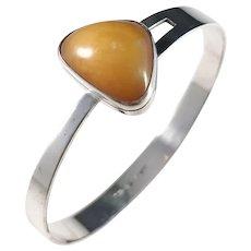 Holger Lindström, Finland year 1962 Solid Silver Amber Open Close Bangle Bracelet.