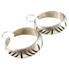 Mexico Vintage Large Sterling Silver Pair of Earrings.