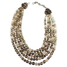 Coppola e Toppo, Italy 1950s Massive Costume Jewelry Necklace.