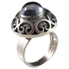 Bengt Hallberg, Sweden year 1969 Solid Silver Cabochon Cut Rock Crystal Ring. Size 7