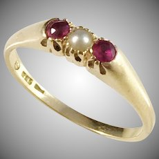 Swedish import 1950s Mid Century 18k Gold Paste Stone Cultured Pearl Ring.