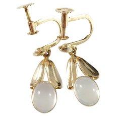 Nordiska Juvelaktiebolaget, Sweden year 1957 Mid Century 18k Gold Moonstone pair of Earrings.