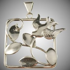 Hugo Grun, Stockholm year 1946, Large Mid Century Solid Silver Bird Leafs Pendant.