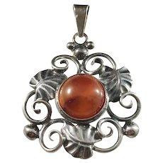 Danehof Sølvsmedie, Denmark Handmade Sterling Silver Amber Pendant.