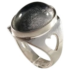 Olof Pettersson, Stockholm year 1976 Sterling Silver Cabochon Rock Crystal Ring.