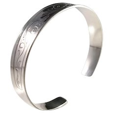 Alton, Sweden year 1975 Sterling Silver Open Bangle Bracelet.
