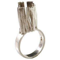 Swedish Import 1960s Modernist Sterling Silver Ring
