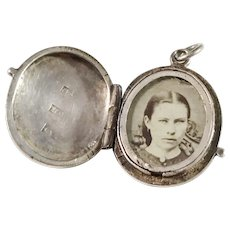 Lars Dahlberg, Sweden year 1872, Victorian Small Solid Silver Photo Locket Pendant.
