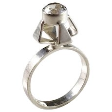 Alton, Sweden year 1969 Modernist Solid Silver Rock Crystal Ring