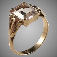 Karlstad, Sweden year 1927 Art Deco Era 18k Gold Rock Crystal Ring.