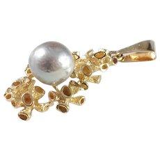 Teka, Germany 1960s, 18k Gold Cultured Pearl Pendant.