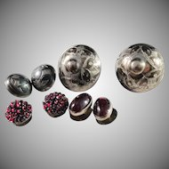 Georgian and Victorian Silver Niello Garnet Buttons.