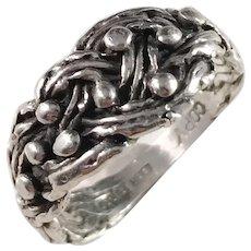 Bength Hallberg, Sweden Vintage Sterling Silver Viking Copy Ring. Size 7