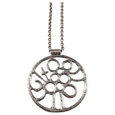Kerstin Öhlin Lejonklou, Sweden year 1972 Solid Silver Modernist Pendant Necklace