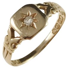 Maker J.H, Birmingham year 1896, Victorian 18k Gold Diamond Ring