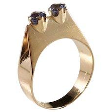 Waldemar Jonsson, Sweden year 1965 Modernist 18k Gold Synthetic Spinel Ring.