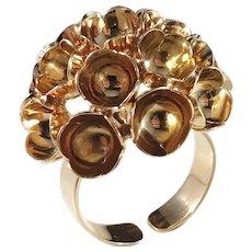 Spring Design, Liisa Vitali, Finland 1970s 18k Gold Massive Ring.
