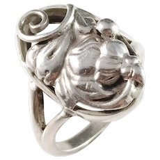 Kaplan, Stockholm year 1953 Mid Century Solid Silver Floral Ring.