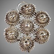Rare David Andersen Norway year 1876-1888 Antique Solid Silver Brooch Converted to a Pendant.