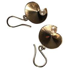 Vintage 18k Gold Cultured Pearl Earrings.