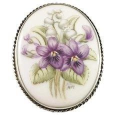Lindgrens Guldsmedsatelje, Sweden year 1954, Solid Silver Hand-Painted Porcelain Flower Brooch.