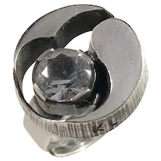 Karl Laine, Finland year 1974 Sterling Silver Rock Crystal Ring.
