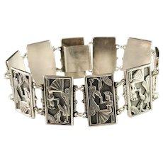 Massive 2.3oz Sweden year 1948 Sterling Silver Egyptian Revival Panel Bracelet.
