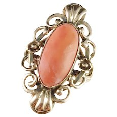 Italy Mid Century 14k Gold Coral Ring.