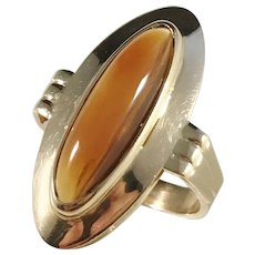Andersson & Hallberg, Stockholm year 1962, Modernist 18k Gold Cabochon Cut Citrine Ring. Excellent.